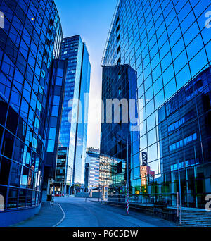 High-rise buildings from glass and concrete in a business part of the city of Tallinn on Tornimyae (Tornimäe) Street - Stock Photo