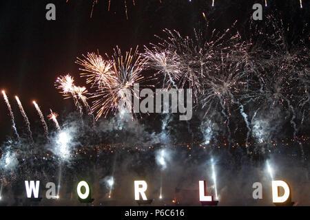 Dubai, fireworks over the word World - Stock Photo