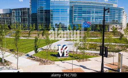 Love sculpture, by Robert Indiana, in front of Northwestern Mutual tower, Milwaukee, Wisconsin, USA - Stock Photo