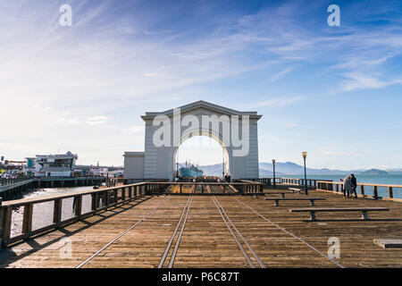san francisco,california,usa,2016/04/20:  Arch ferry in pier 43 on sunny day. - Stock Photo