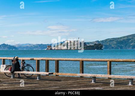 Alcatraz,san francisco,usa.2016.04.20: Alcatraz island on sunny day in summer season. - Stock Photo