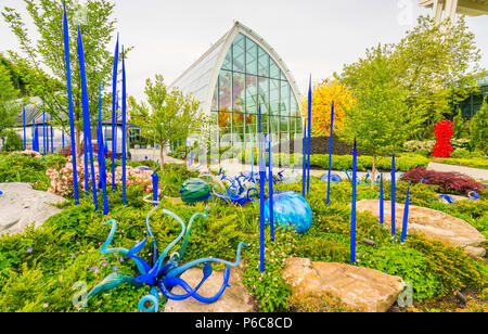 SEATTLE - Apr 26, 2016: Blown glass in abstract shapes, Chihuly ...