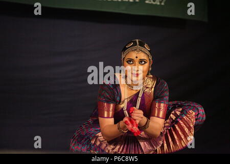 bharata natyam is one of the eight classical dance forms of india,from the state of tamil nadu.the pictures are from different stage performances - Stock Photo
