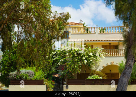 Facade of house with terrace covered with flowering bush and garden around against blue sky - Stock Photo