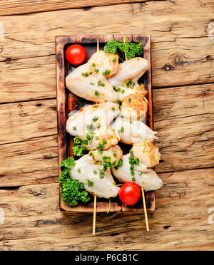 Chicken shish kebab or shashlik on skewers.Fast food.BBQ - Stock Photo