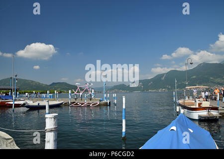 Giro d'Italia on Lake Iseo - Stock Photo