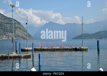 Giro d'Italia on Lake Iseo - Stock Photo
