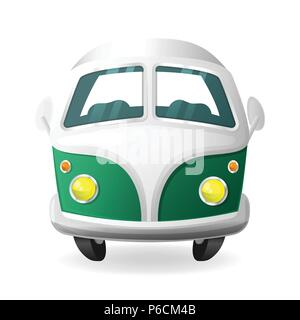 Retro mini van camper car - cartoon style front view - Stock Photo