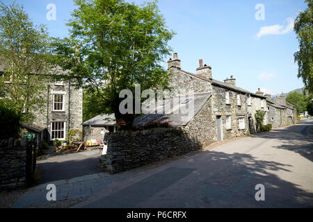 traditional lake stone slate built cottages in the hamlet of town end near grasmere lake district cumbria england uk - Stock Photo