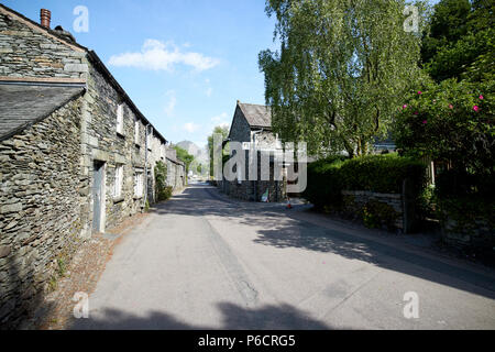 street through traditional lake stone slate built cottages in the hamlet of town end near grasmere lake district cumbria england uk - Stock Photo
