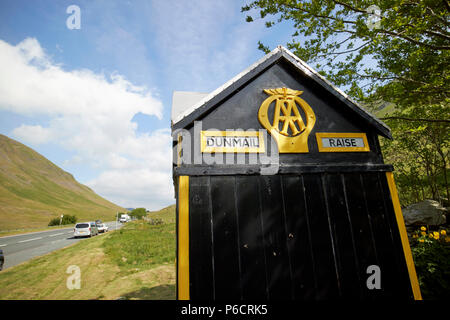 old aa telephone box on the a591 dunmail raise in the lake district cumbria england uk - Stock Photo