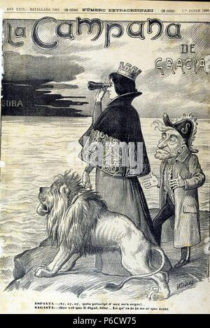 SAGASTA , PREXADES MATEO. POLITICO ESPAÑOL. TORRECILLA DE CAMEROS 1827 - 1903. PRESIDENTE DEL GOBIERNO. CARICATURA SOBRE LA GUERRA DE CUBA, EN EL SEMANARIO LA CAMPANA DE GRACIA , AÑO 1898. - Stock Photo