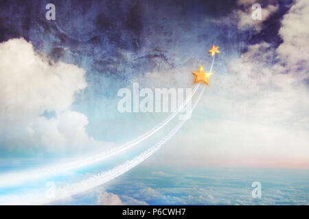Two stars flying above the clouds, up into space. Dream together, relationships and dreams, a conceptual image in watercolor cartoon style. - Stock Photo