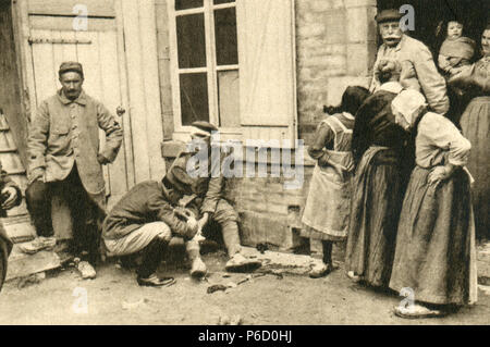 world war i, prisoners of war, German soldier, wounded people, ww1, wwi, world war one - Stock Photo