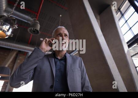 Businessman talking on mobile phone - Stock Photo