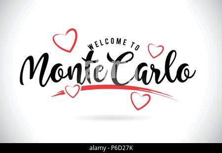 MonteCarlo Welcome To Word Text with Handwritten Font and Red Love Hearts Vector Image Illustration Eps. - Stock Photo