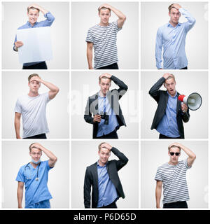 Collage of handsome young man wearing differents outfits stressed with hand on head, shocked with shame and surprise face, angry and frustrated. Fear  - Stock Photo