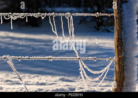 Extremely frosted barbed wire and fence post, German countryside - Stock Photo