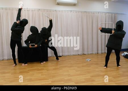New York, NY, USA. 29th June, 2018. Cast of Mummenschanz in attendance for MUMMENSCHANZ Debut New Show 'you and me', Pearl Studios, New York, NY June 29, 2018. Credit: Jason Smith/Everett Collection/Alamy Live News - Stock Photo