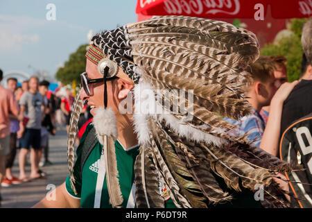 Moscow, Russia. June,23 2018 Fifa Fan Fest. Mexican fan in national dress - Stock Photo