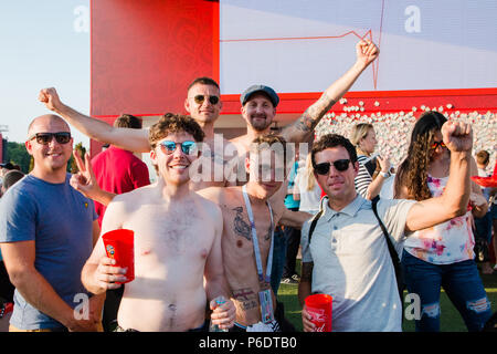 Moscow, Russia. June,23 2018 Fifa Fan Fest. Football fans from England on the streets of the city on the day of the match. - Stock Photo