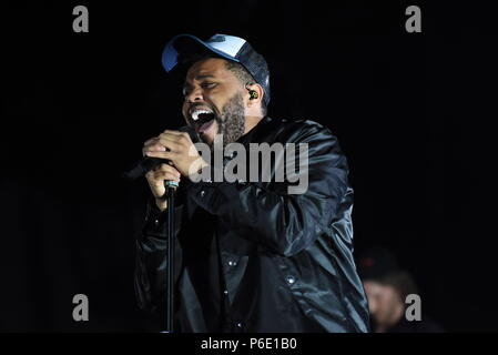 Rabat, Morocco. 29th June, 2018. Canadian singer The Weeknd performs during the 2018 Morocco's Mawazine Festival in Rabat, Morocco, on June 29, 2018. Credit: Aissa/Xinhua/Alamy Live News - Stock Photo