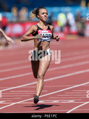 Birminghm, UK, 30 June 2018. Alexander Stadium, Birmingham, UK. Saturday 30th June 2018. British Athletics Championships. Ebony Carr wins during the womens 100m heats.Credit: UK Sports Agency/Alamy Live News  - Stock Photo
