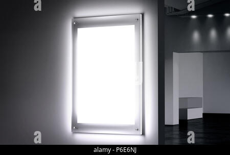 Blank white illuminated poster mock up in dark hall, 3d rendering. Clear glowing affiche design mockup mounted on gallery wall. Led acrylic billboard with empty placard in cinema room. Light box sign - Stock Photo