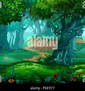 Forest of magic. Moving trees. Vector cartoon close-up illustration. - Stock Photo