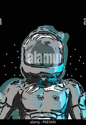 Astronaut in space helmet, illustration. - Stock Photo