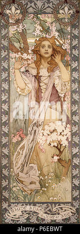 . Maude Adams (1872–1953) as Joan of Arc .  English: This poster was created by Mucha in Chicago, and, as a poster, it was first published there, pre-1923. It was a Gift of A. J. Kobler to the Metropolitan Museum of Art in 1920. . 1909 64 Mucha-Maud Adams as Joan of Arc-1909 - Stock Photo