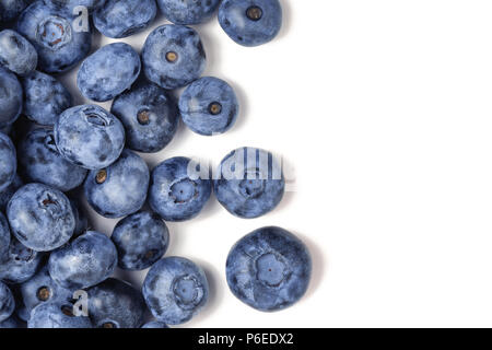 Top view of fresh ripe blueberries isolated on white. Close-up organic juicy freshly picked bilberries. Copyspace. Flat lay - Stock Photo