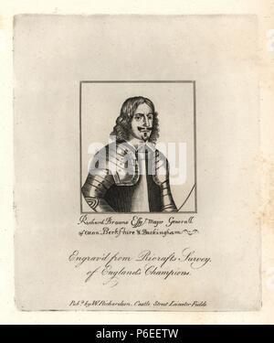 Richard Brown, Lord Mayor of London, 1660, Major General of Oxon, Berkshire and Buckingham. From Ricraft's 'Survey of England's Champions,' 1647. Copperplate engraving from Richardson's 'Portraits illustrating Granger's Biographical History of England,' London, 1792–1812. Published by William Richardson, printseller, London. James Granger (1723–1776) was an English clergyman, biographer, and print collector. - Stock Photo