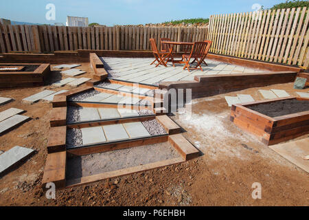 A unique design of garden well constructed using natural materials with growing medium spread over the beds and wooden sleepers throughout. - Stock Photo
