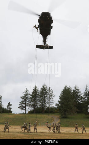 Soldiers and Airmen rappel from a UH-60 helicopter during the final phase of Air Assault School, held at Camp Rilea in Warrenton, Ore., June 6, 2018. The students trained physically and mentally to achieve the opportunity to earn their Air Assault Badge. (Photo by Staff Sgt. Anita VanderMolen, 115th Mobile Public Affairs Detachment, Oregon Army National Guard) - Stock Photo
