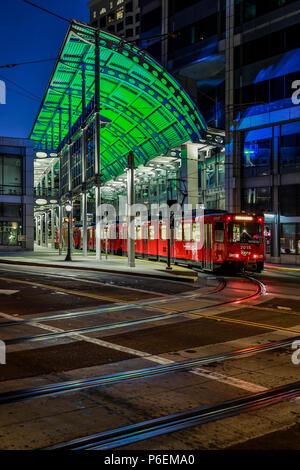 Trolley and tracks, American Plaza, Santa Fe Transit Center, San Diego, California USA - Stock Photo
