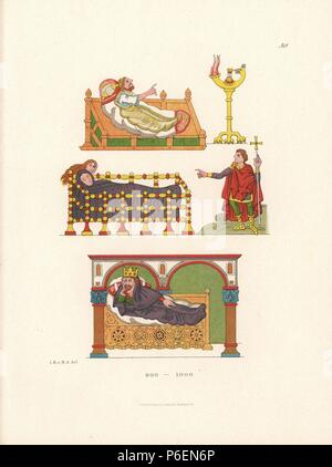 Bedridden figures (including King David on a day bed below) illustrating the Psalms from an illuminated psalter on parchment in Stuttgart library, 10th century. Chromolithograph from Hefner-Alteneck's 'Costumes, Artworks and Appliances from the Middle Ages to the 17th Century,' Frankfurt, 1879. Illustration by Dr. Jakob Heinrich von Hefner-Alteneck and published by Heinrich Keller. Hefner-Alteneck (1811 - 1903) was a German museum curator, archaeologist, art historian, illustrator and etcher. - Stock Photo