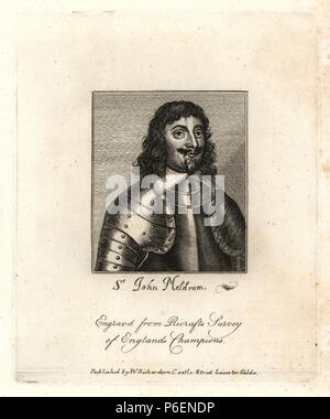 Sir John Meldrum, General for the Parliament. Died 1645. From Ricraft's 'Survey of England's Champions.' Copperplate engraving from Richardson's 'Portraits illustrating Granger's Biographical History of England,' London, 1792–1812. Published by William Richardson, printseller, London. James Granger (1723–1776) was an English clergyman, biographer, and print collector. - Stock Photo