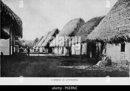 Español: Grabado del libro Guatemala, the land of quetzal de William T. Brigham, publicado en 1887. Calle de Livingston, Izabal en 1884. 1884 50 Guatemala land quetzal Brigham 1887 12 - Stock Photo