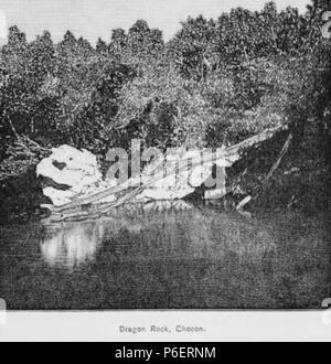 Español: Grabado del libro Guatemala, the land of quetzal de William T. Brigham, publicado en 1887. Roca del Dragón, en Izabal. 1884 50 Guatemala land quetzal Brigham 1887 19 - Stock Photo
