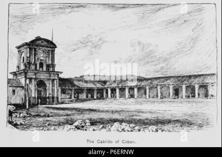 Español: Grabado del libro Guatemala, the land of quetzal de William T. Brigham, publicado en 1887. Cabildo de Cobán, aproximadamente en 1884. 1884 50 Guatemala land quetzal Brigham 1887 24 - Stock Photo