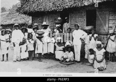 Español: Grabado del libro Guatemala, the land of quetzal de William T. Brigham, publicado en 1887. Familia caribe en Livingston, Izabal. 1884 50 Guatemala land of quetzal, Brigham 14 - Stock Photo