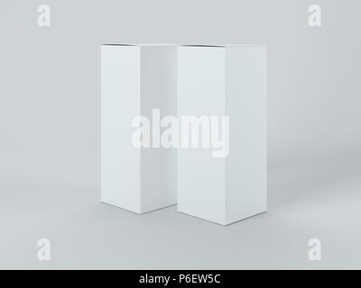 White boxes isolated on white background - Stock Photo