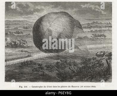 Catastrophic crash landing of Felix Nadar's balloon 'le Geant' near Hanover, 1863. Woodblock engraving from Louis Figuier's 'Les Merveilles de la Science: Aerostats' (Marvels of Science: Air Balloons), Furne, Jouvet et Cie, Paris, 1868. - Stock Photo