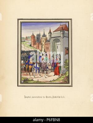 The city of Bristol surrendering to Queen Isabella of France during the invasion of England, 1326. Handcoloured lithograph after an illuminated manuscript from Sir John Froissart's 'Chronicles of England, France, Spain and the Adjoining Countries, from the Latter Part of the Reign of Edward II to the Coronation of Henry IV,' George Routledge, London, 1868. - Stock Photo