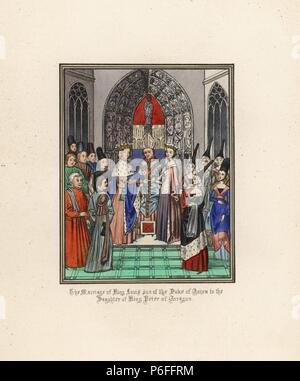 The marriage of King Louis II of Naples, son of the Duke of Anjou, to Yolande, daughter of King Peter of Aragon, 1400. Handcoloured lithograph after an illuminated manuscript from Sir John Froissart's 'Chronicles of England, France, Spain and the Adjoining Countries, from the Latter Part of the Reign of Edward II to the Coronation of Henry IV,' George Routledge, London, 1868. - Stock Photo