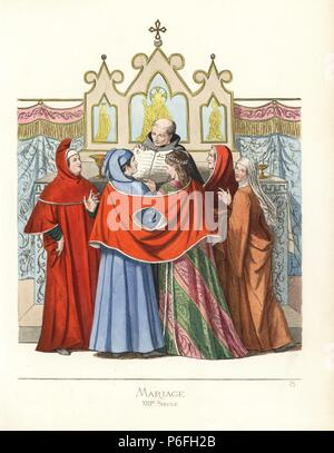 Marriage ceremony, 13th century. They stand in front of a priest with a red shawl draped over their shoulders. She wears a small crown of gold tied with a black ribbon, a damask cape and dress lined with ermine. He wears a skyblue cape and robe. From an illustration in manuscript 1389, Vatican library. Handcoloured illustration drawn and lithographed by Paul Mercuri with text by Camille Bonnard from 'Historical Costumes from the 12th to 15th Centuries,' Levy Fils, Paris, 1860. - Stock Photo