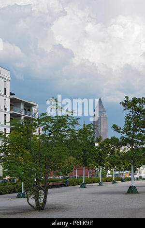 view from the new district europaviertel on the messeturm, frankfurt am main, germany - Stock Photo