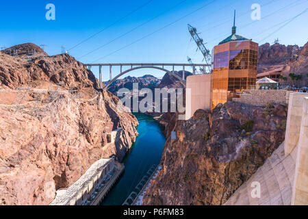 hoover dam on sunny day,Nevada,usa. - Stock Photo