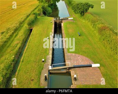 Aerial photo of England canals network crossing countryside in west midlands county - Stock Photo